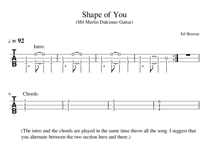 TABS: Shape Of You – Ed Sheeran – The Wiz\'